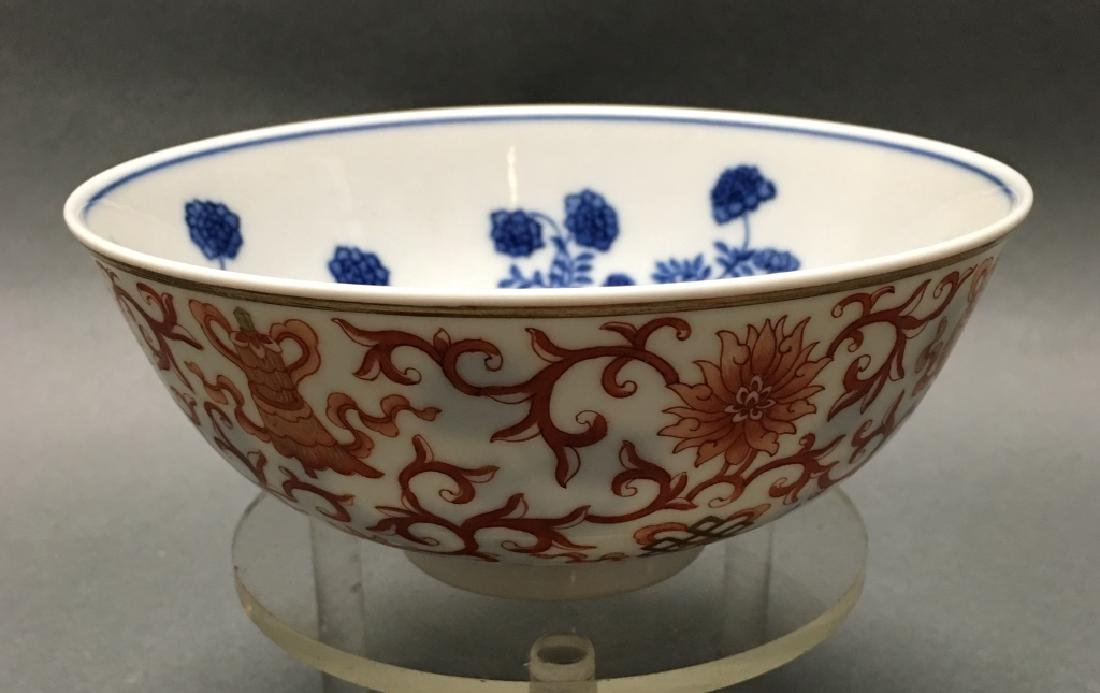 Chinese blue & white & iron red porcelain bowl