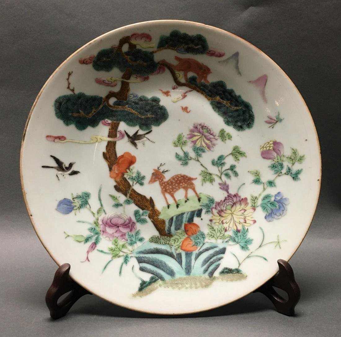 Chinese famille rose porcelain charger, Qing dynasty