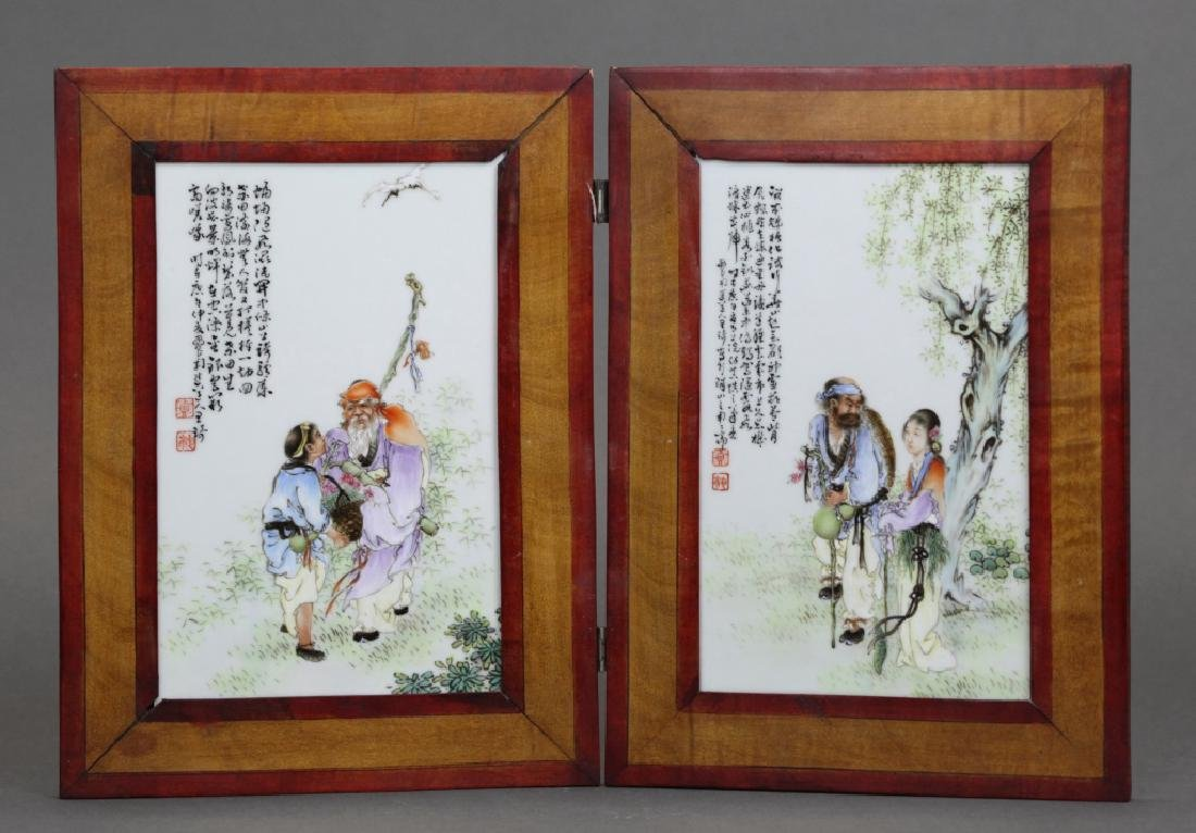 pair of framed Chinese porcelain plaques