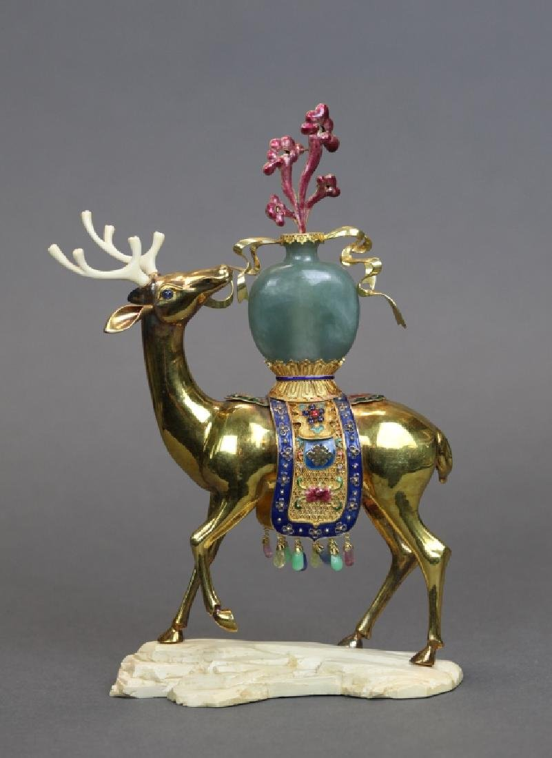 Chinese 18kt gold, jade, enamel deer