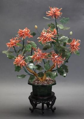 Chinese coral & spinach jade bonsai flower tree