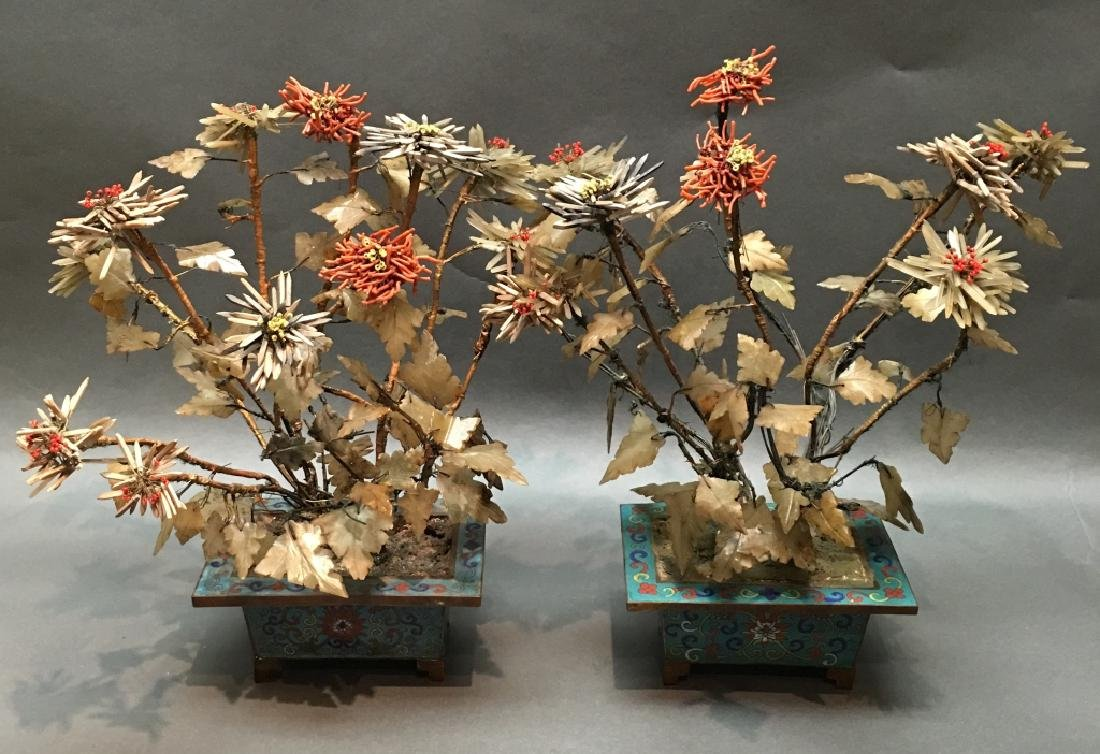 pair of Chinese jade & coral bonsai flower trees