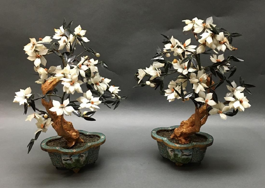 pair of Chinese jade bonsai flower trees