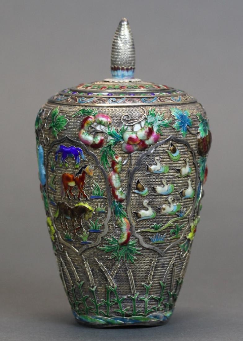 Chinese silver cover jar inlaid w/ enamel
