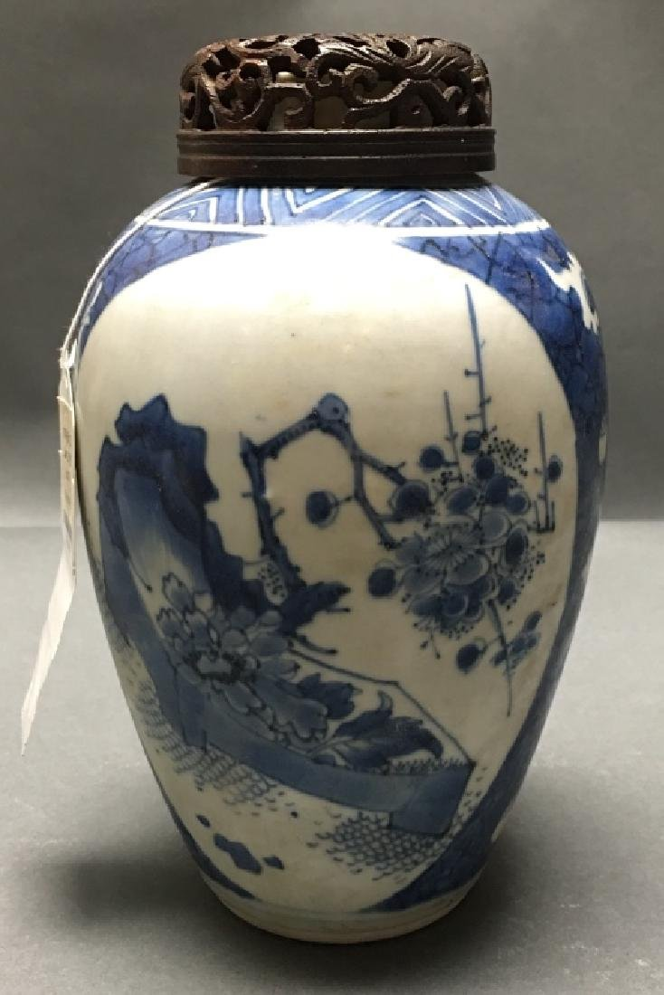 Chinese blue & white porcelain jar, 18th c.