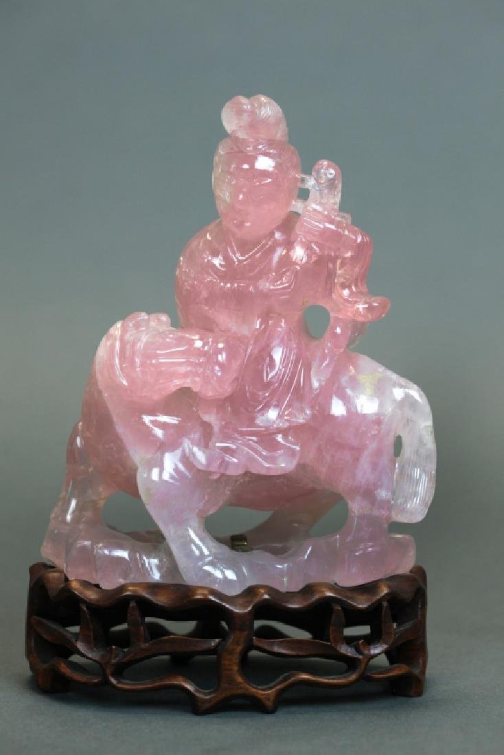 Chinese rose quartz carving of a beauty on a horse