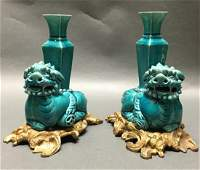 pair of Chinese lion form candle holders 19th c