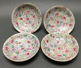 4 Chinese famille rose porcelain dishes, Qing dynasty