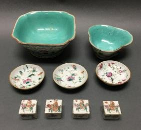 9 Chinese famille rose porcelain items, Qing dynasty
