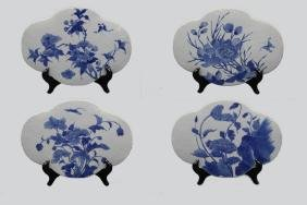 4 Chinese blue & white porcelain panels, 19th c.