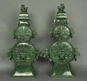 pair of carved Chinese spinach jade cover vases