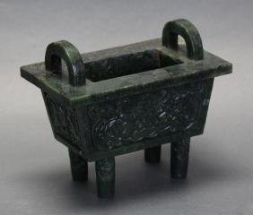carved Chinese spinach jade censer