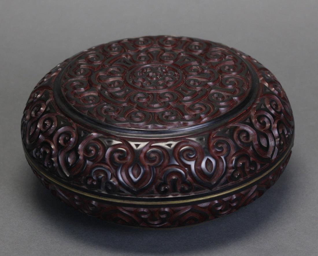 Chinese lacquer box w/ cover, 19th c.