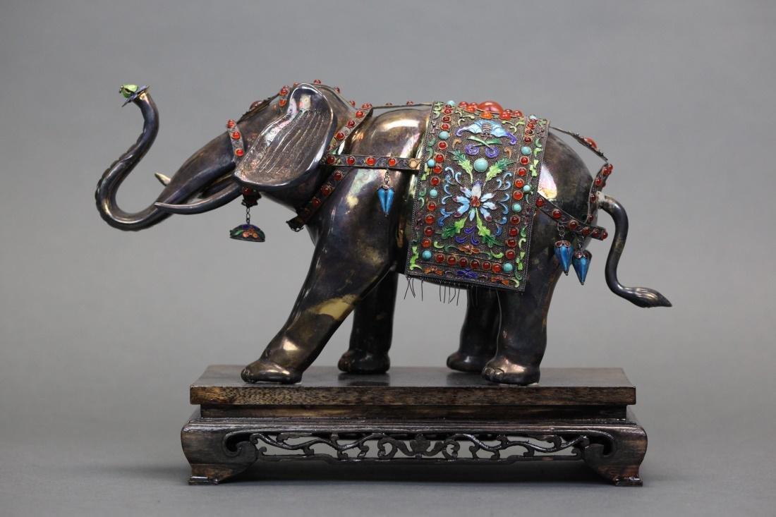 Chinese silver & enamel elephant