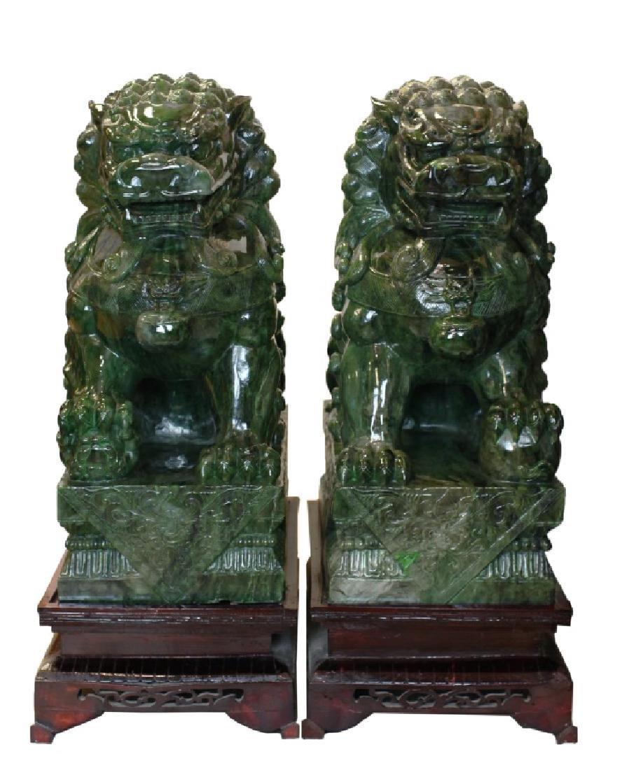 massive pair of Chinese spinach jade Buddhist lions