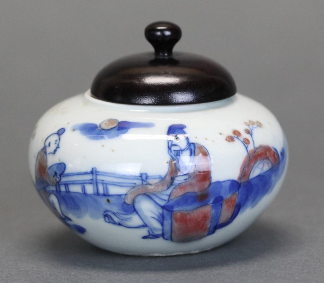 Chinese blue, white, & iron red porcelain jar, 19th c.
