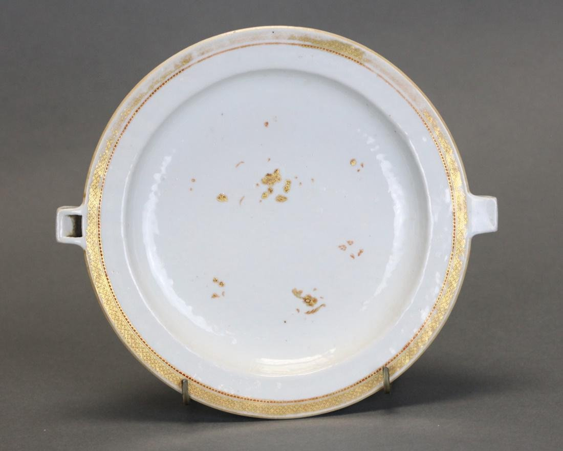 Chinese export porcelain hot water platter, 19th c.