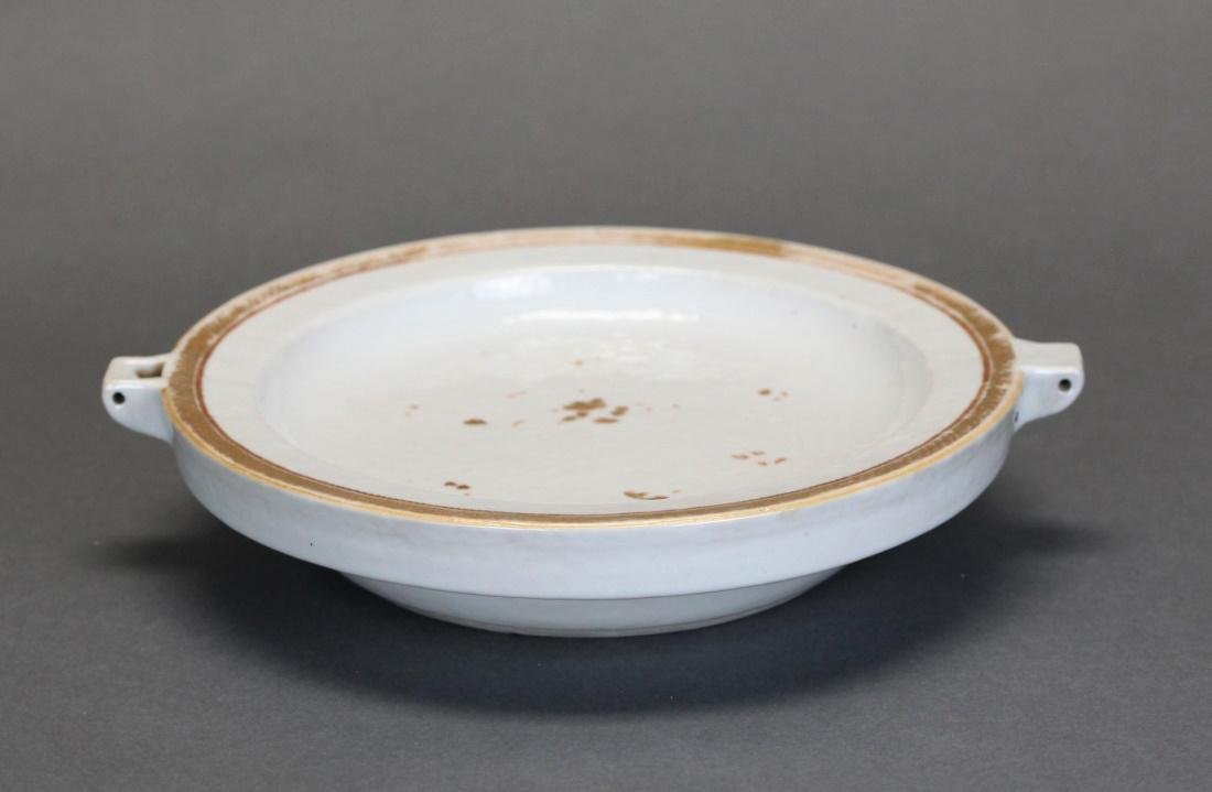 Chinese export porcelain hot water platter, 19th c. - 2