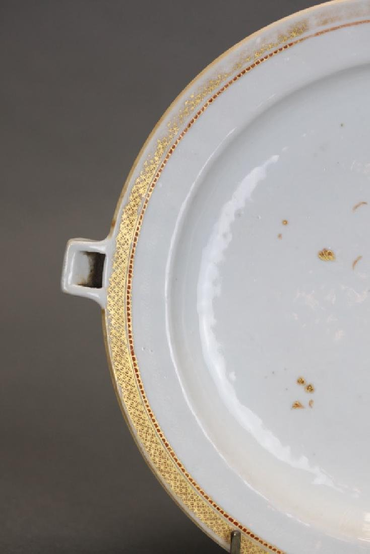 Chinese export porcelain hot water platter, 19th c. - 3