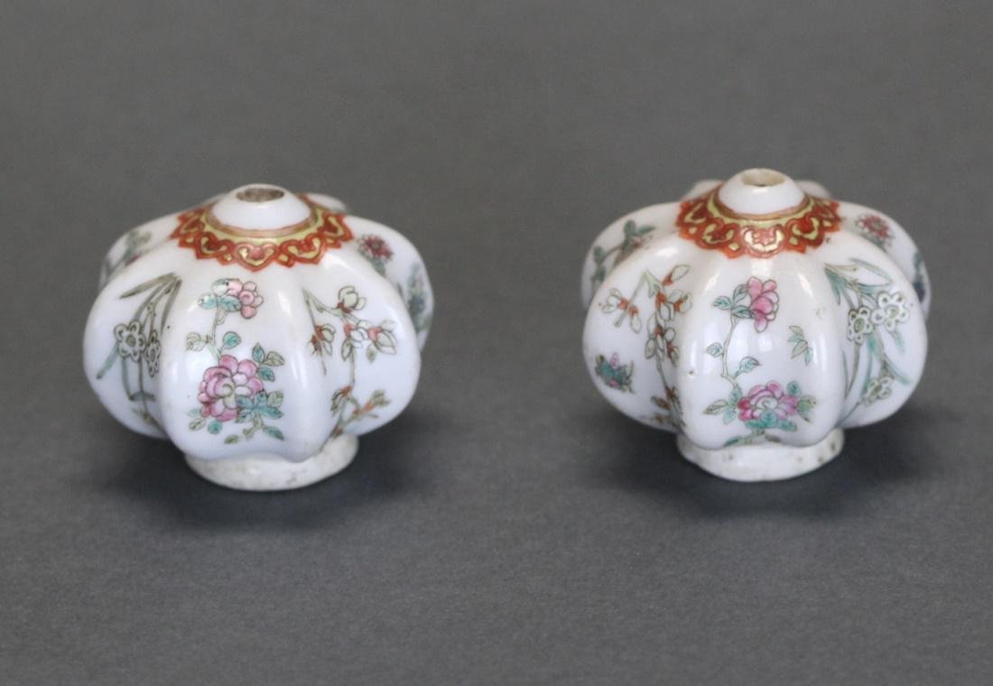 pair of Chinese porcelain opium pipe bowls