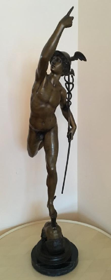 large bronze sculpture of Mercury/Hermes, 19th c.