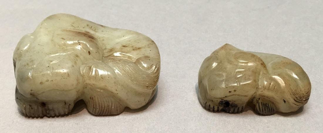 2 Chinese nephrite jade animal carvings, Qing dynasty