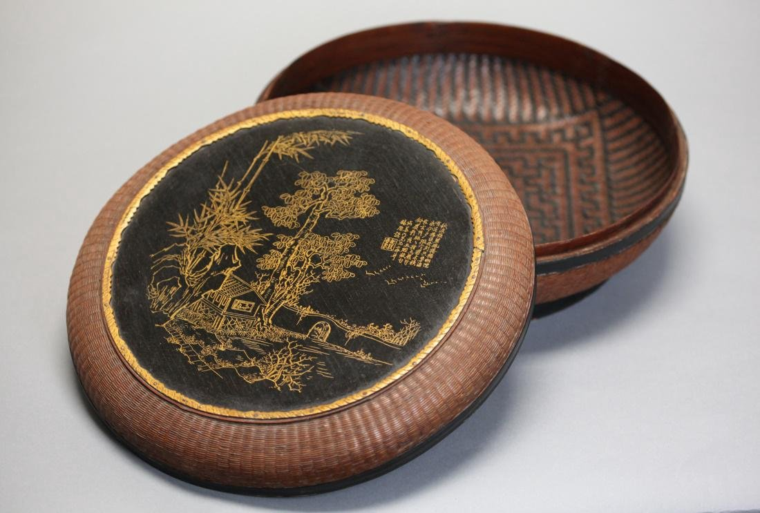 Chinese bamboo and lacquer box w/ cover, 19th c.