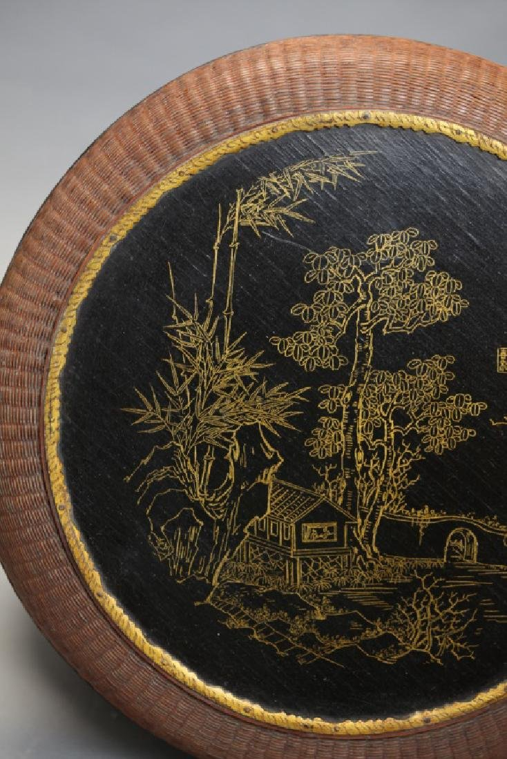 Chinese bamboo and lacquer box w/ cover, 19th c. - 4
