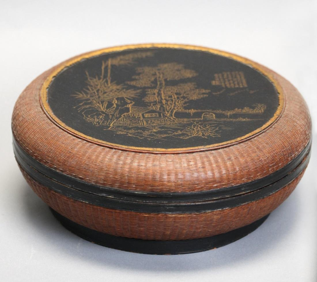 Chinese bamboo and lacquer box w/ cover, 19th c. - 5