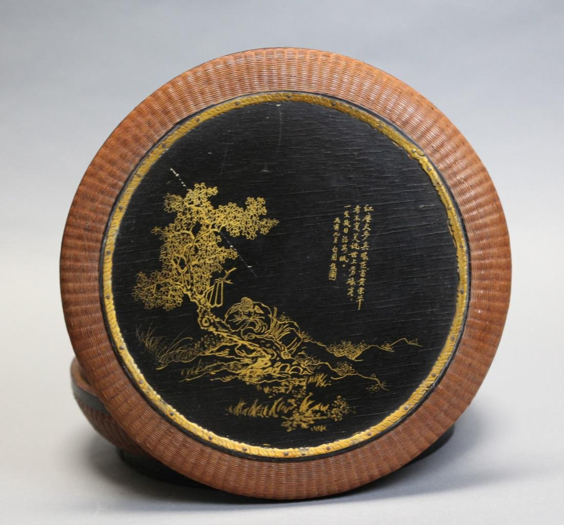 Chinese bamboo and lacquer box w/ cover, 19th c. - 2