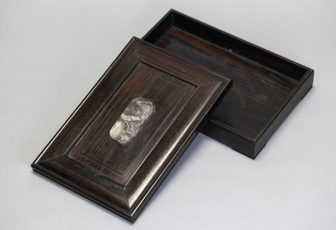 Chinese zitan box inlaid with jade, Republican period