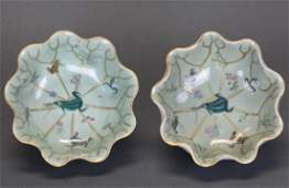 pair of Chinese lotus form bowls Qing dynasty