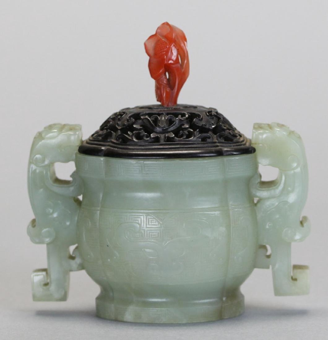 Chinese celadon nephrite jade censer, Qing dynasty