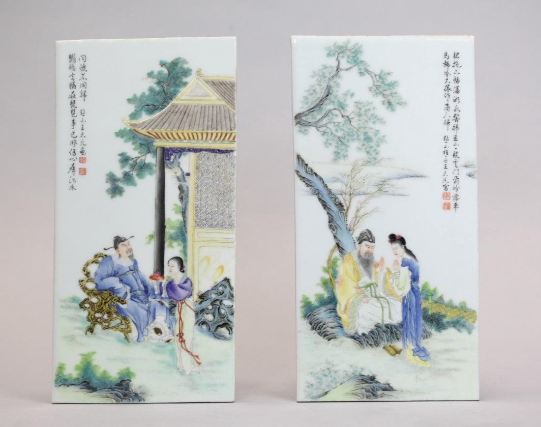 pair of Chinese porcelain plaques w/ figural scene
