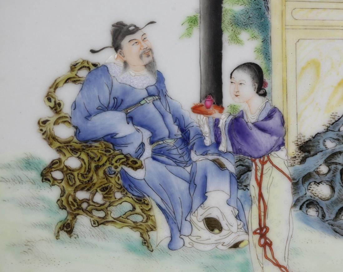 pair of Chinese porcelain plaques w/ figural scene - 3