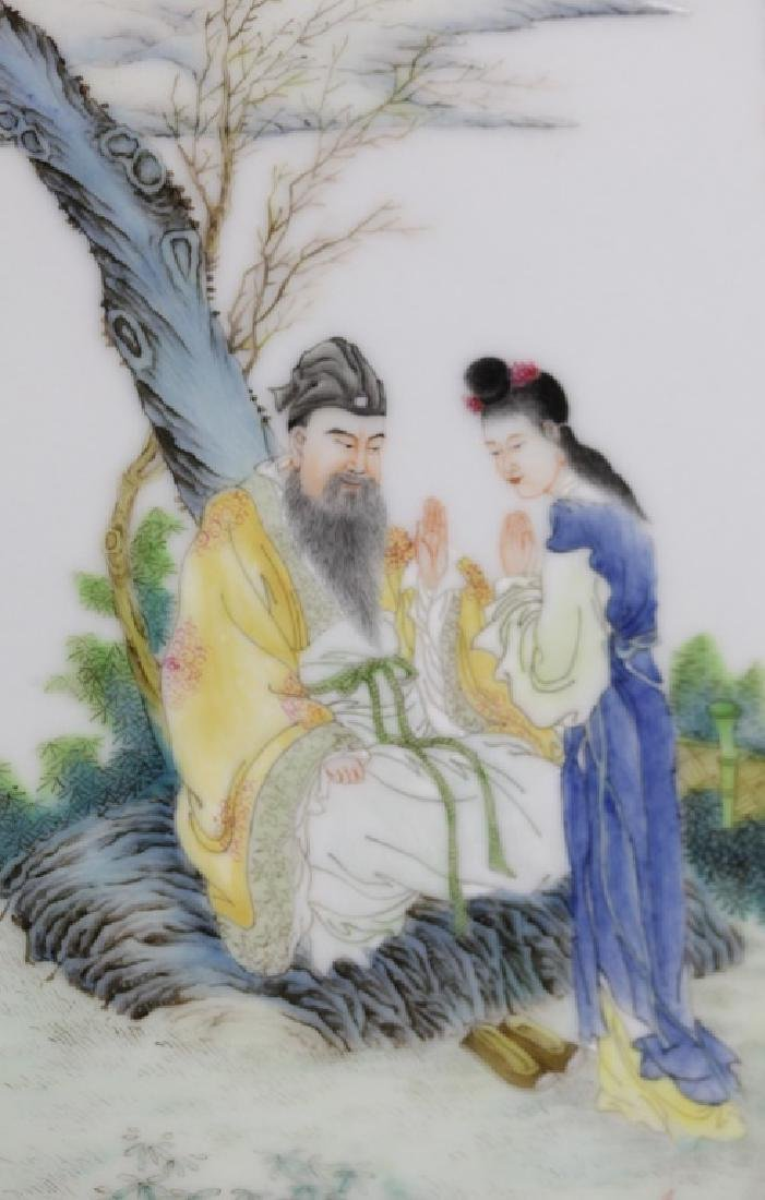 pair of Chinese porcelain plaques w/ figural scene - 5