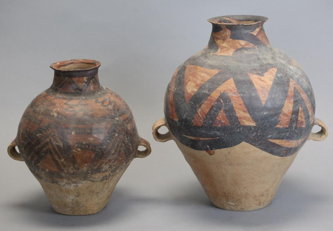 2 Chinese neolithic pottery jars