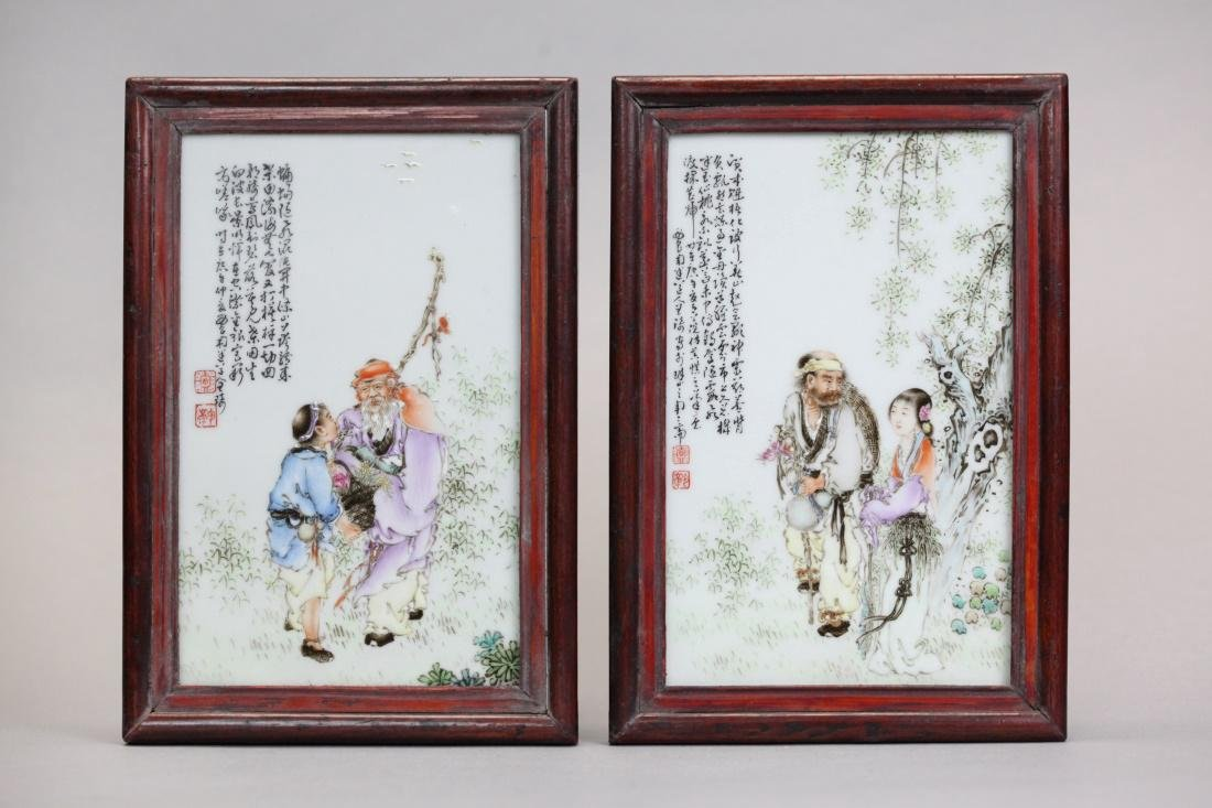 pair of Chinese porcelain plaques w/ figure motif