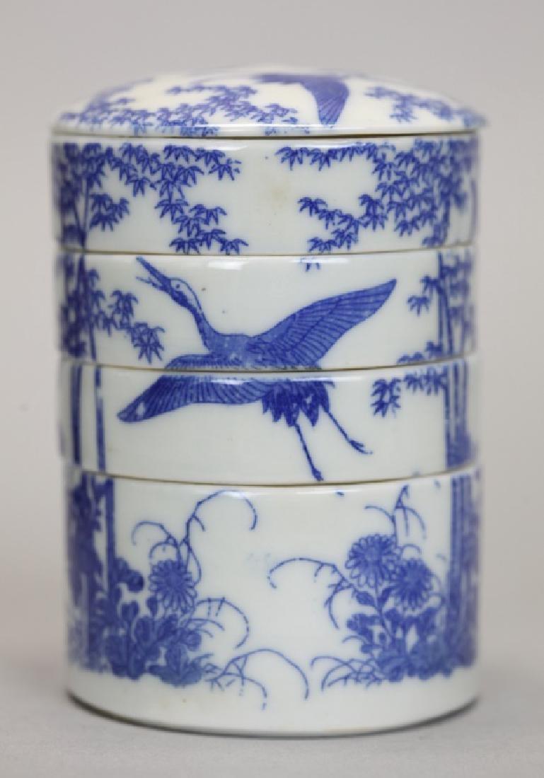 Japanese porcelain tea caddy w/ original wooden box - 3
