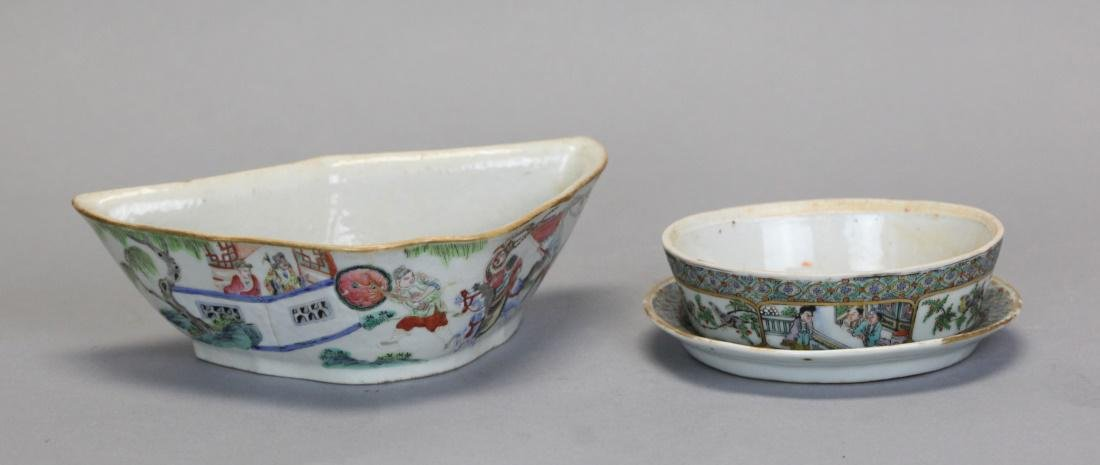3 Chinese famille rose porcelain wares, Qing dynasty