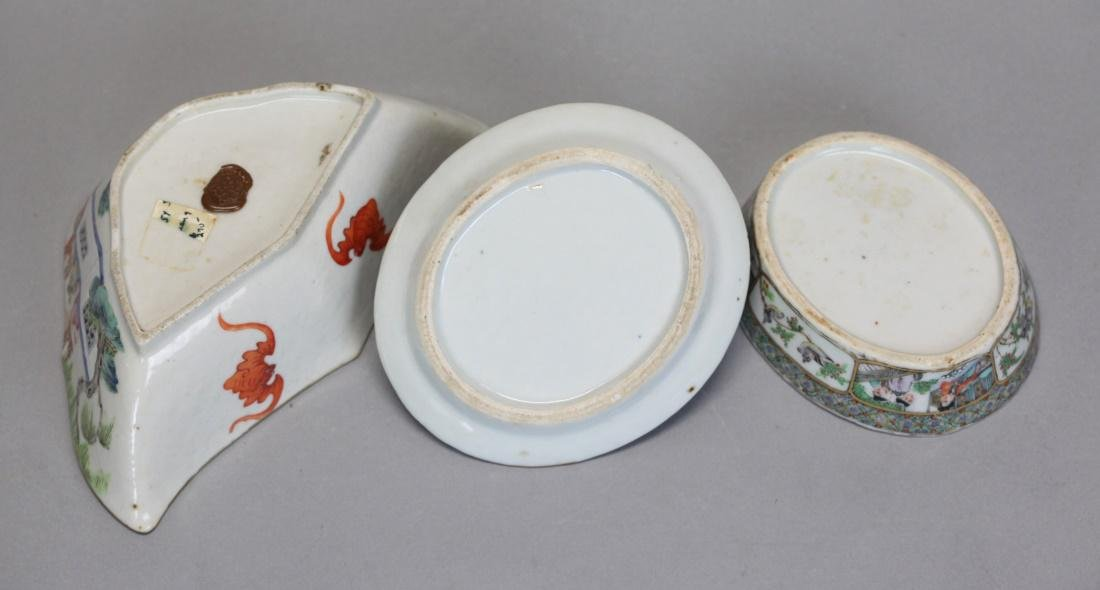 3 Chinese famille rose porcelain wares, Qing dynasty - 6