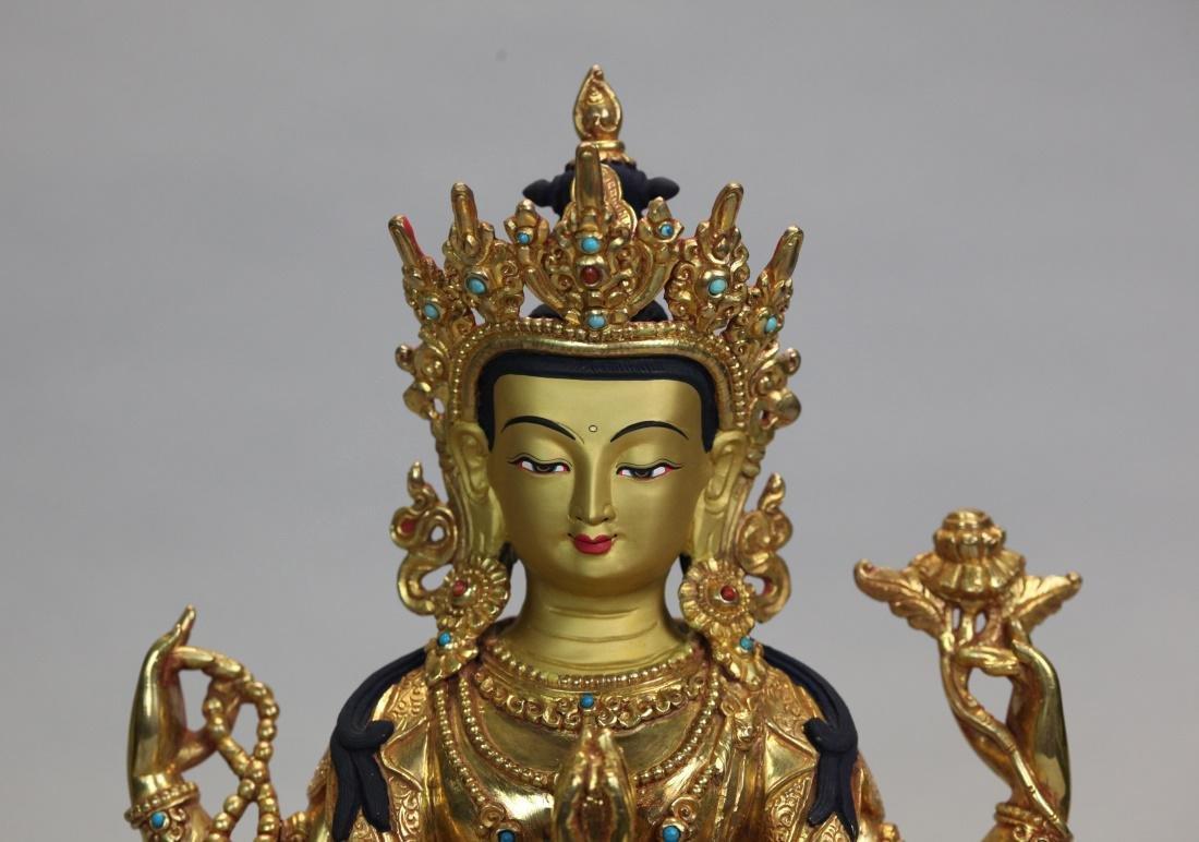 Tibetan gilt bronze Buddha - 2