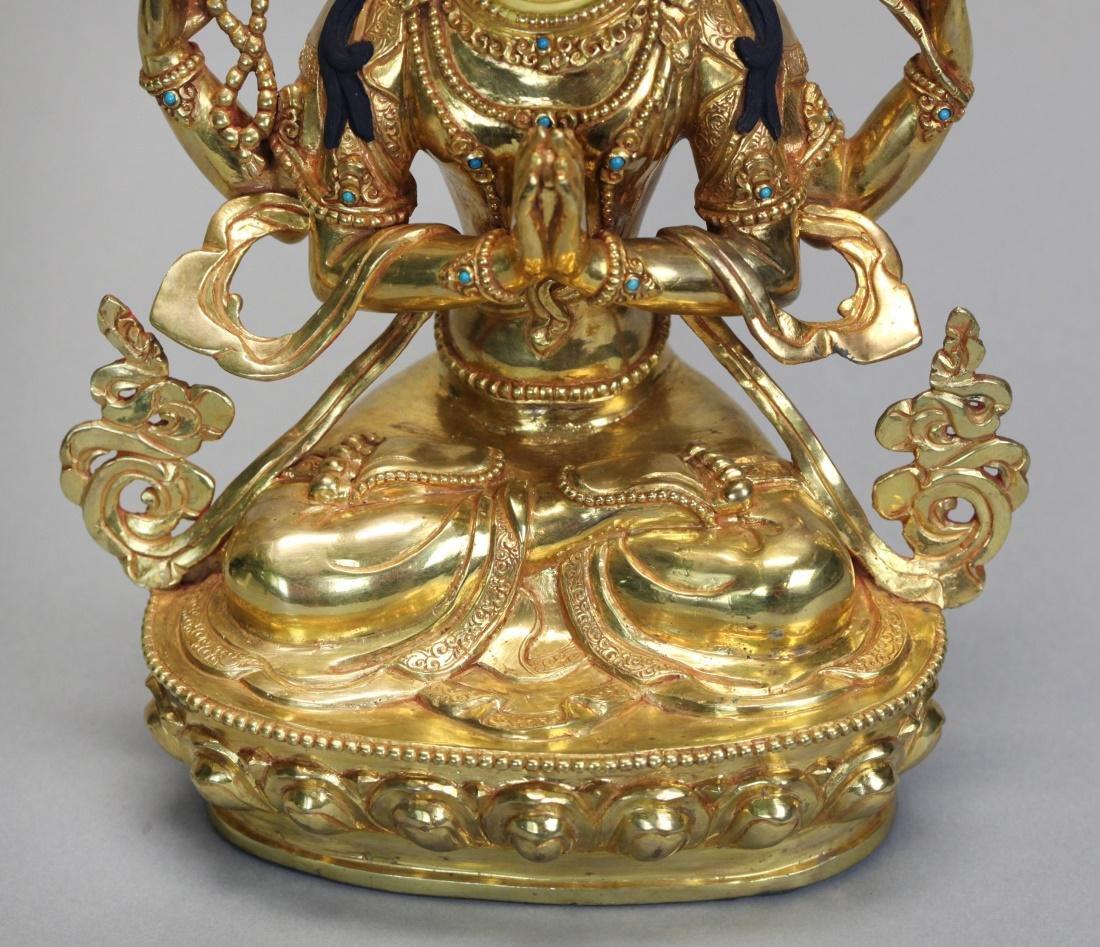 Tibetan gilt bronze Buddha - 3