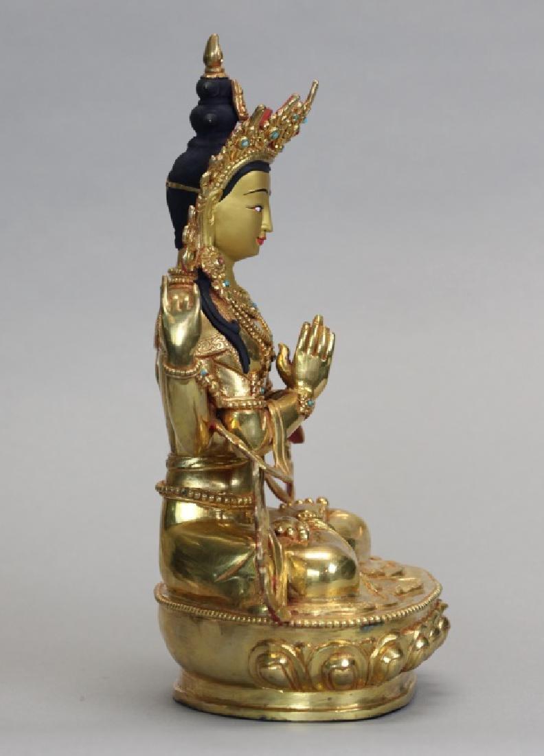 Tibetan gilt bronze Buddha - 4