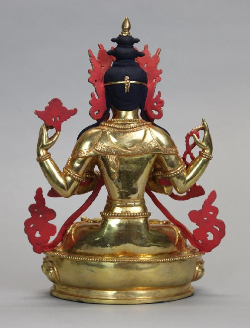 Tibetan gilt bronze Buddha - 5