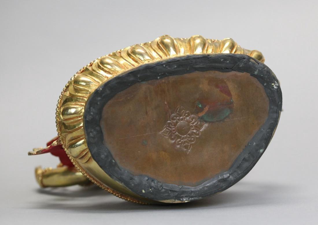 Tibetan gilt bronze Buddha - 6