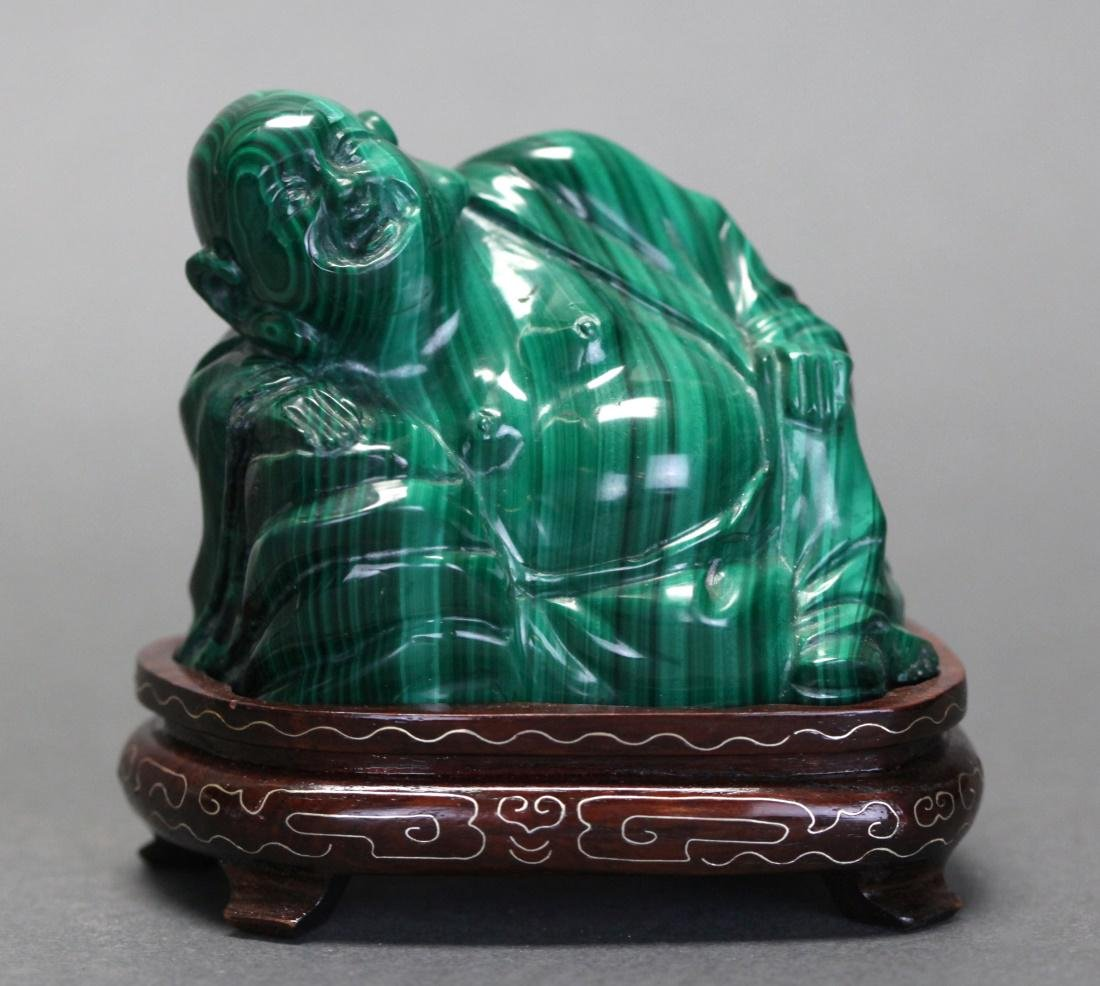 Chinese malachite carving of a hotai