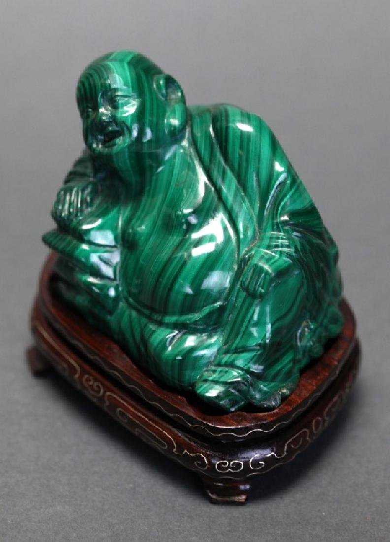 Chinese malachite carving of a hotai - 2