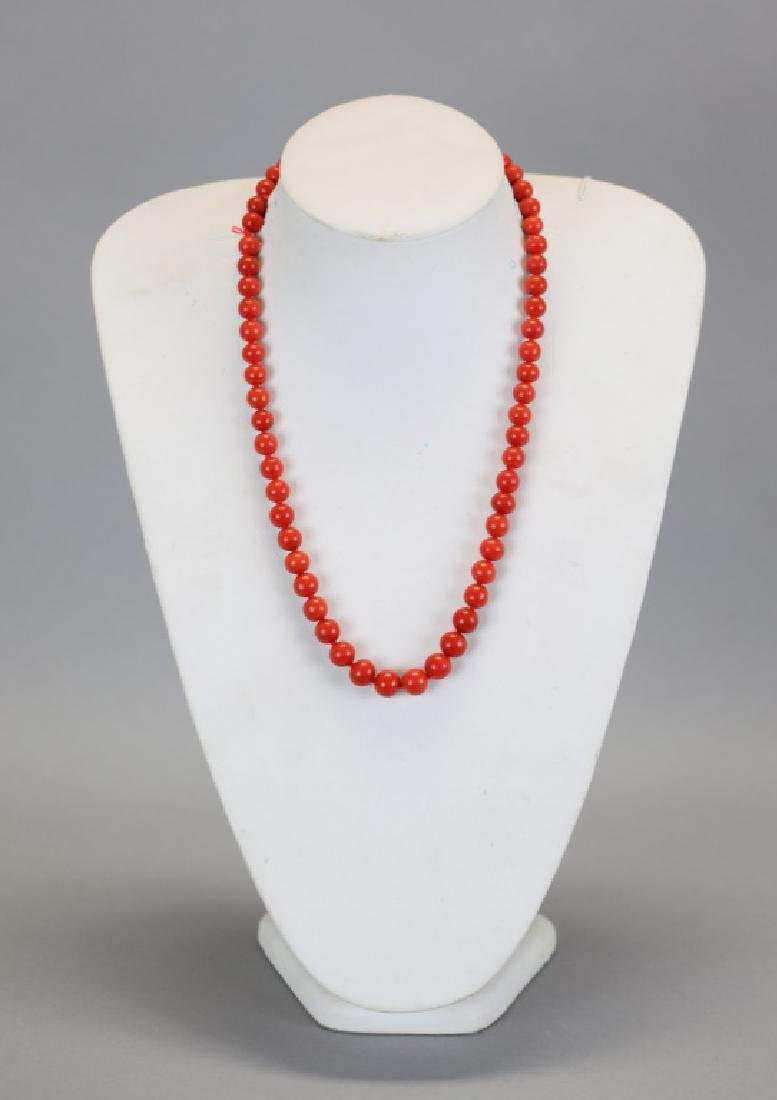 Chinese coral beaded necklace