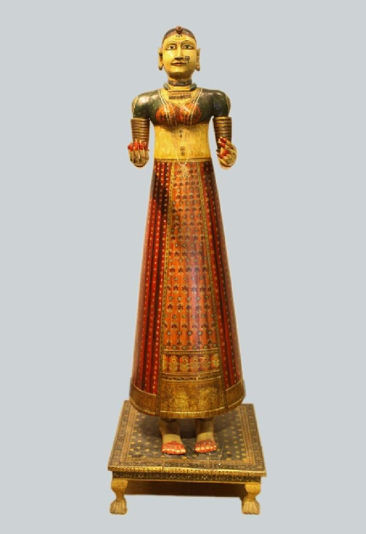 polychrome wooden female figure, India, 19th c.